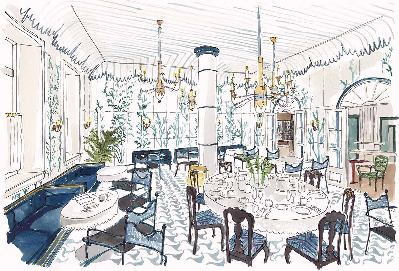 Illustration of the Breakfast Room at Maison de la Luz. Featuring our breakfast buffet | Bed and breakfast New Orleans