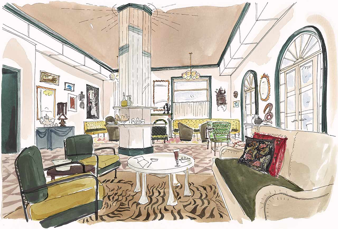 Illustration of the Living Room at Maison de la Luz, a private, guest-only lounge to enjoy nightly wine, cheese or cocktails.