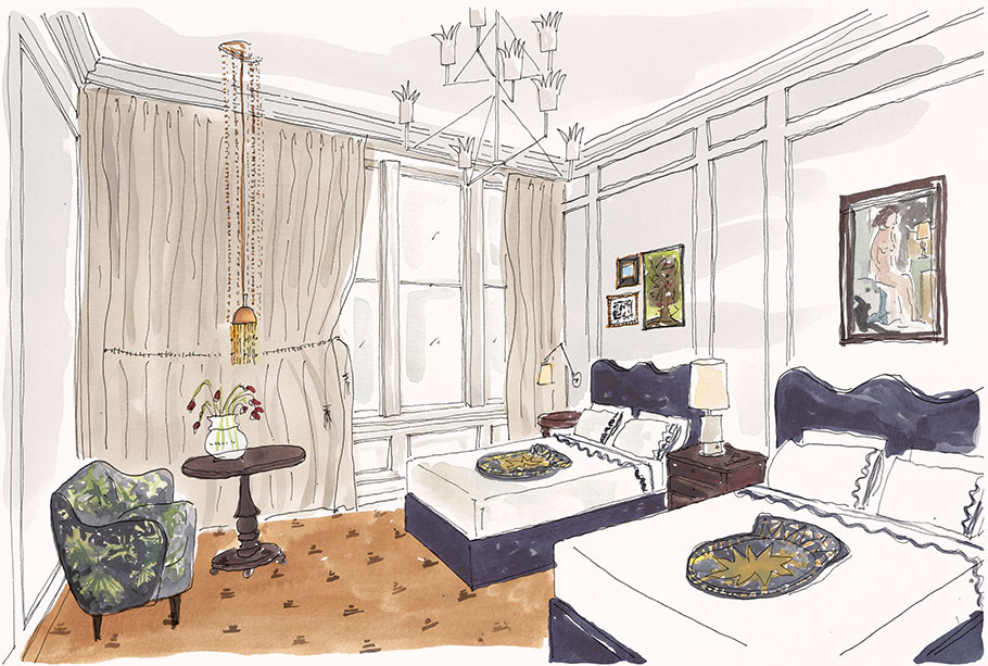 Illustration of a Deluxe Double room at Maison de la Luz in New Orleans, including 2 double beds and a settee. Family hotel.