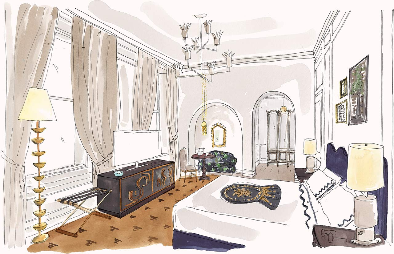 Illustration of a Junior Delux Suite at Maison de la Luz | suite with separate living and sleeping areas in New Orleans