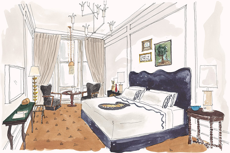 Illustration of a spacious Deluxe King Room, a luxury guest room at Maison de la Luz in New Orleans.