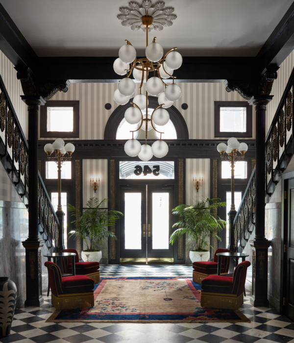 The lobby at Maison de la Luz in New Orleans; small luxury hotels
